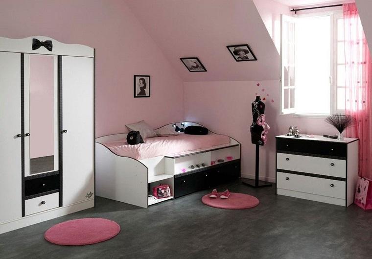 camerette-per-ragazze-mobili-bianchi-neri