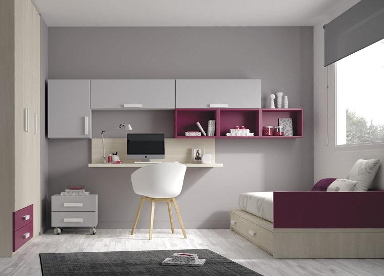 camerette-per-ragazze-pareti-grigie