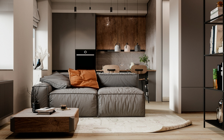 come arredare casa piccola divano soggiorno cucina tappeto mensole libreria lampade