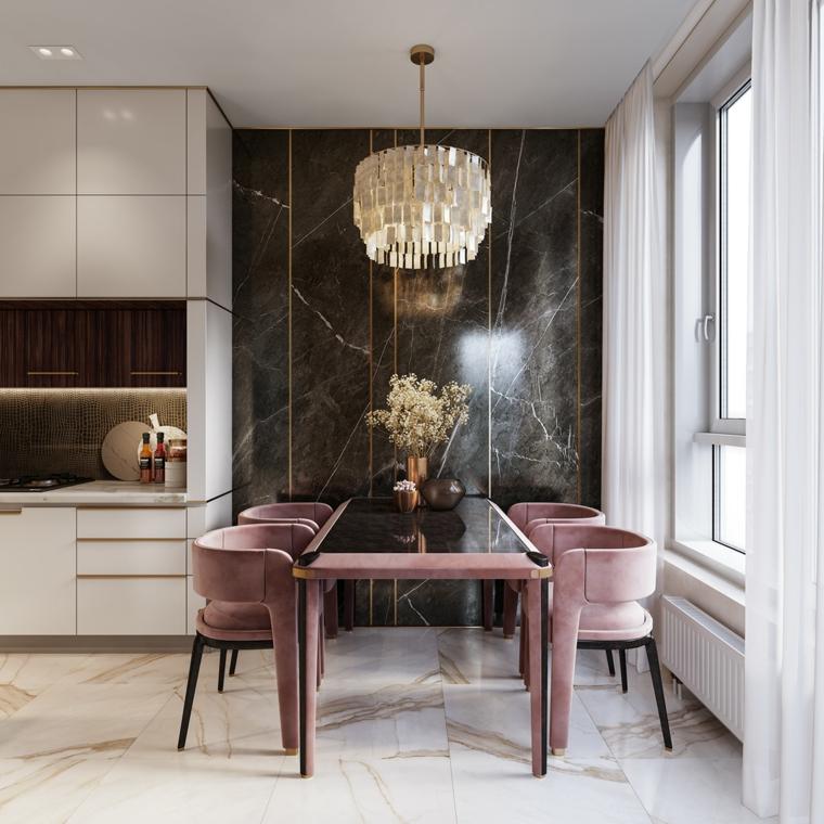 come arredare casa piccola open space cucina sala da pranzo tavolo vetro sedie parete marmo