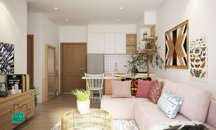 come arredare un monolocale divano rosa cucina salotto open spalce mobili legno
