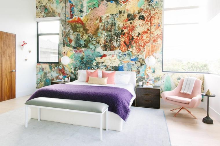 come arredare una casa piccola camera da letto sedia rosa parete pannello colorato
