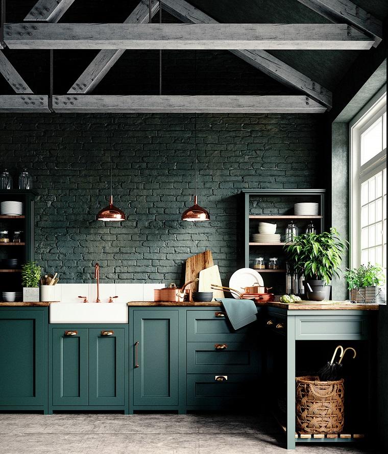 come arredare una casa piccola con soppalco mobili cucina legno verde stile tradizionale travi