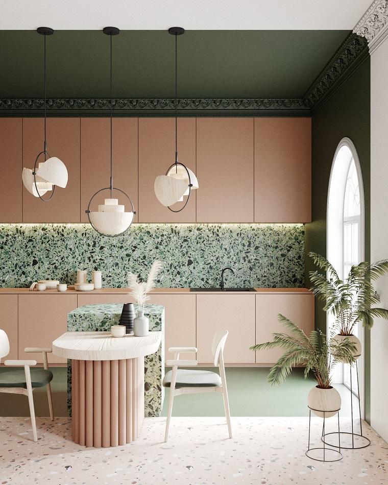 come arredare una casa piccola moderna cucina open space salotto sala da pranzo colore rosa
