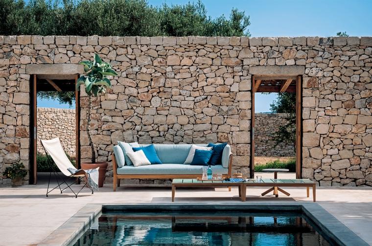 come progettare un giardino rettangolare casa con piscina mobili in legno da esterno