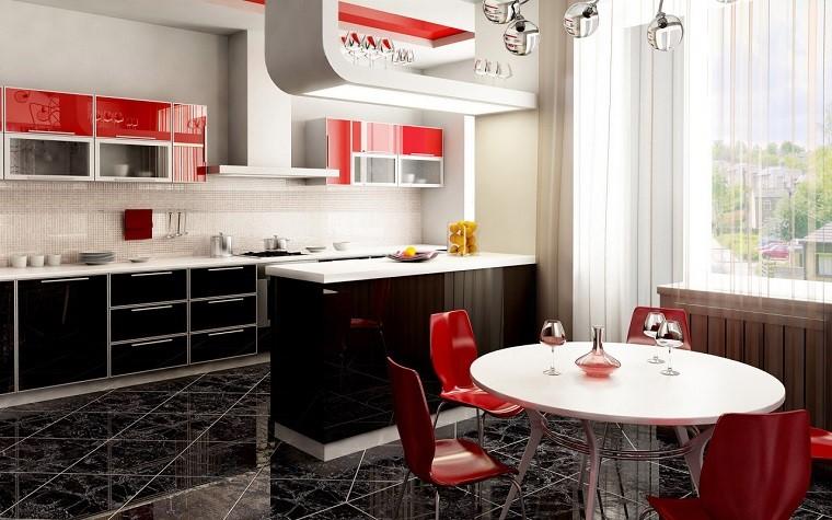 cucina-rossa-mobili-bianchi-neri