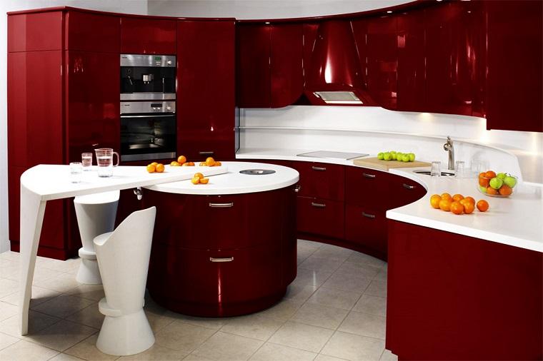 cucina-rossa-scura-design-originale