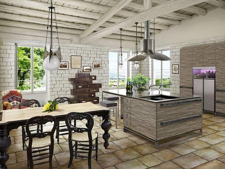 cucina-rusitica-travi-vista-bianche