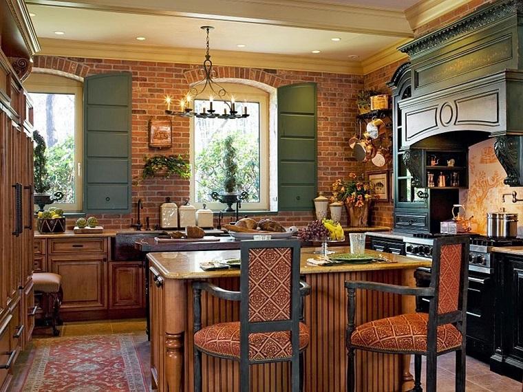 cucina-rustica-in-muratura-lampadario-ferro-battuto
