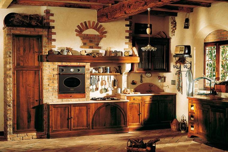 cucina-rustica-mattoni-travi-vista