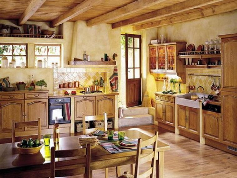 cucina-rustica-mobili-legno-parquet