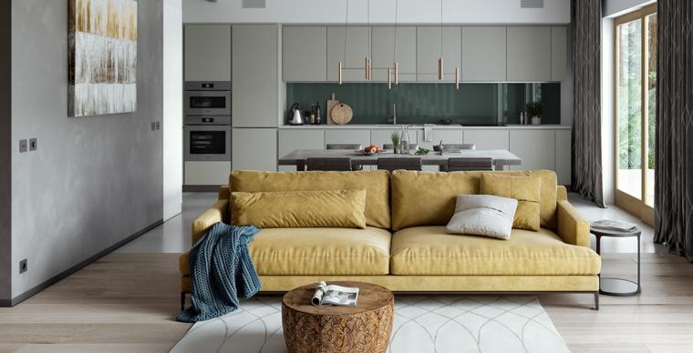 cucina soggiorno insieme divano giallo mobili grigi tavolino legno arredare piccoli appartamenti