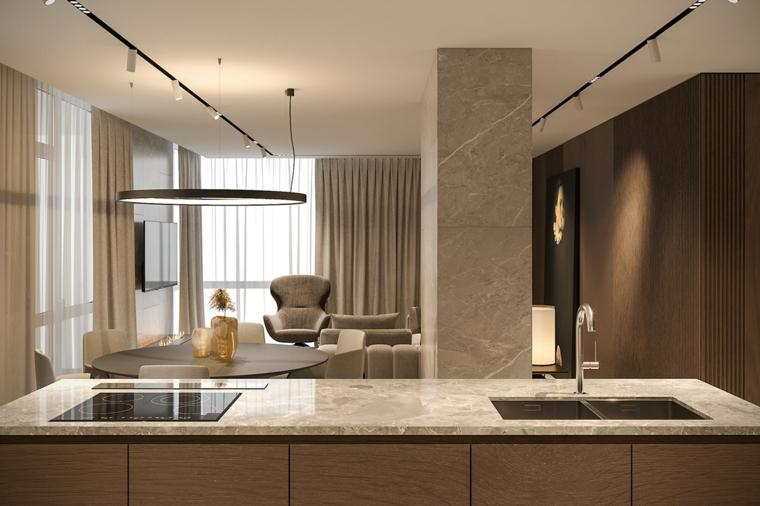 cucina soggiorno open space 50 mq top lavandino isola lampada faretti pareti marroni
