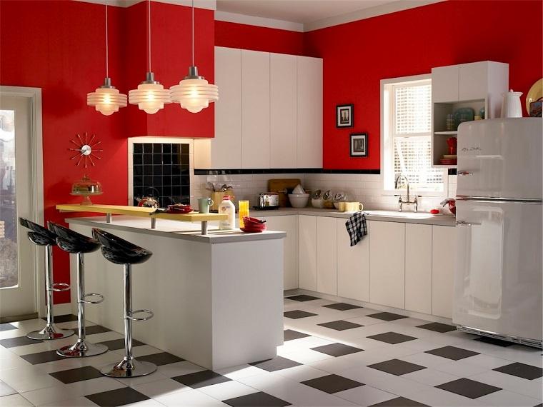 cucina vintage-idea-originale-pareti-rosse