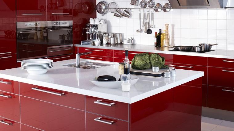 cucine rosse-isola-top-bianco