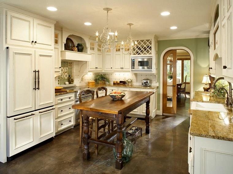 cucine rustiche-mobili-bianchi-pavimento-scuro