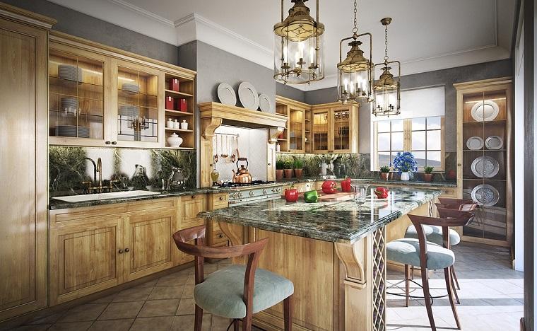 cucine rustiche-mobili-legno-top-marmo