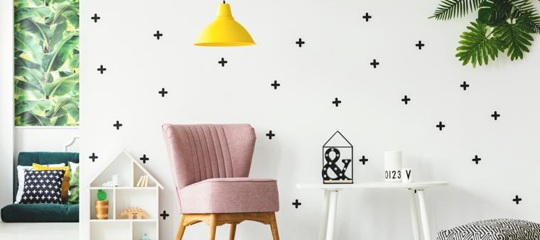 decorazioni cameretta sticker parete lampada painte casetta legno tavolino