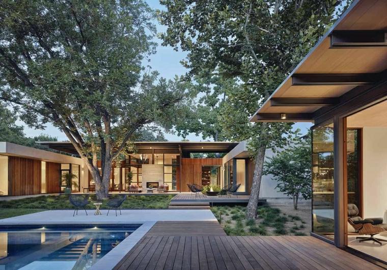 giardini moderni con piscina outdoor zen con alberi e pavimento in legno