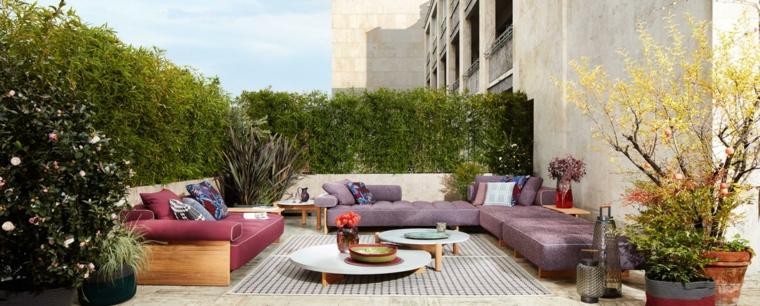 giardini moderni fai da te arredamento con mobili in legno colorati