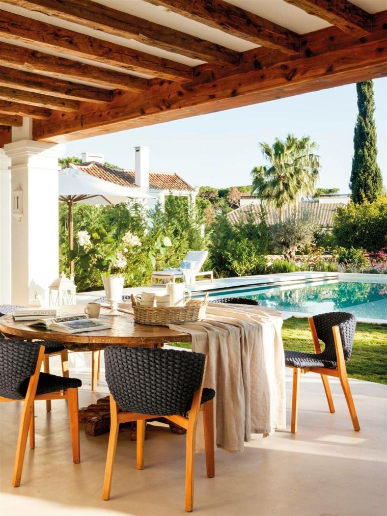 giardini moderni fai da te arredamento con tavolo da pranzo pergola di legno