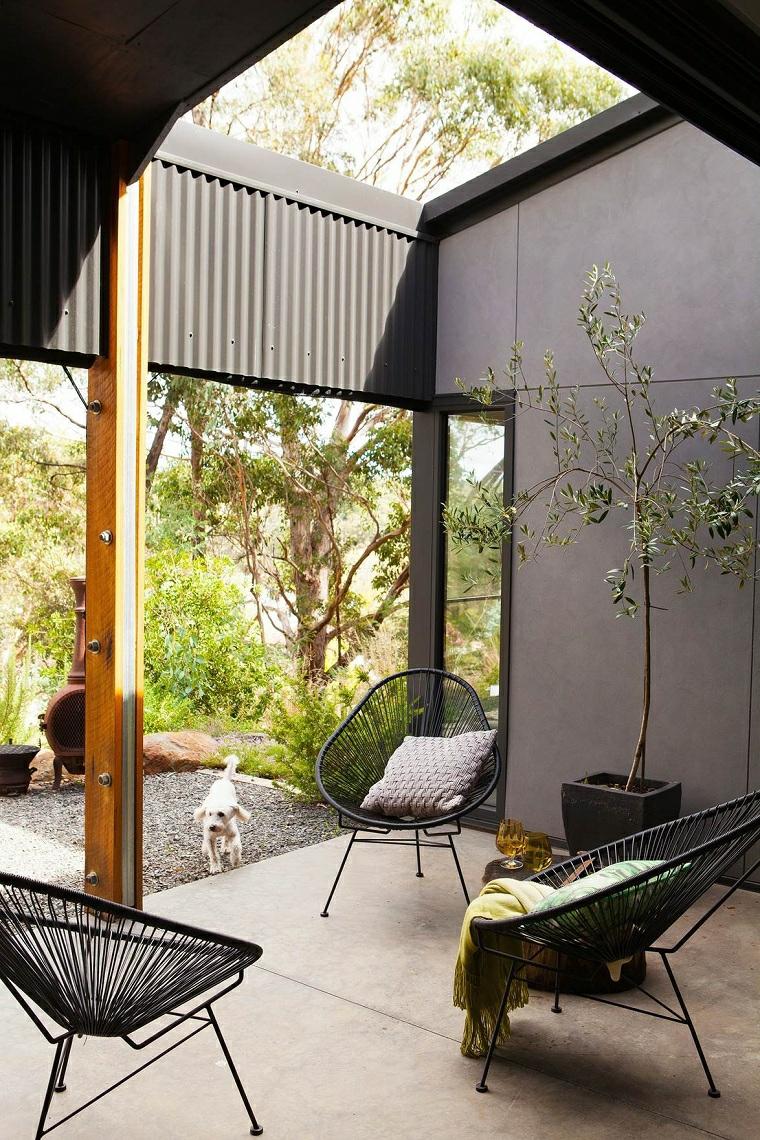 giardini moderni minimal arredamento con poltrone aiuola con sassi