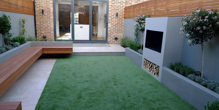 giardino-moderno-panca-legno-camino