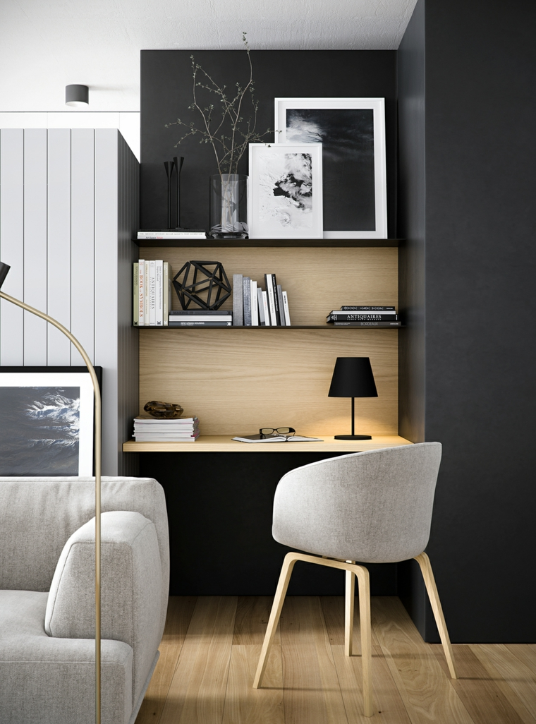 home office sedia poltrona arredare monolocale divano grigio soggiorno pavimento legno parquet