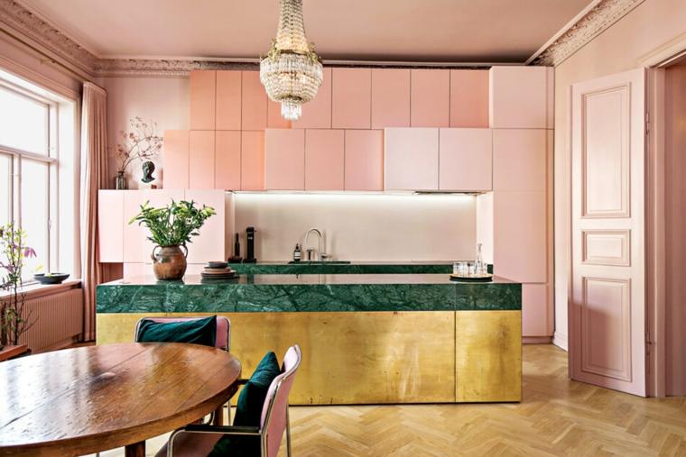 idee arredamento monolocale cucina isola mobili rosa tavolo da pranzo
