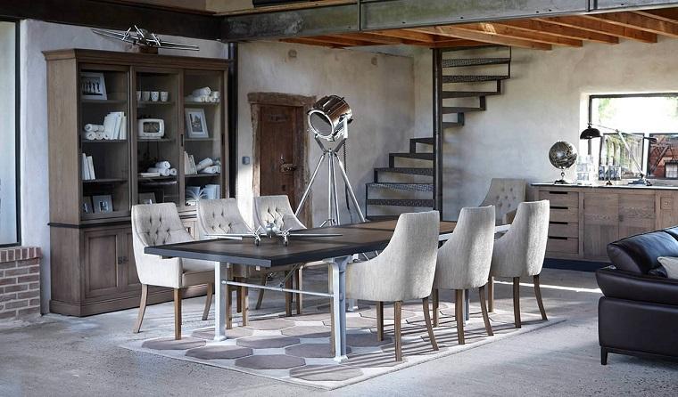 mobili stile provenzale-sala-pranzo-elementi-indutriali