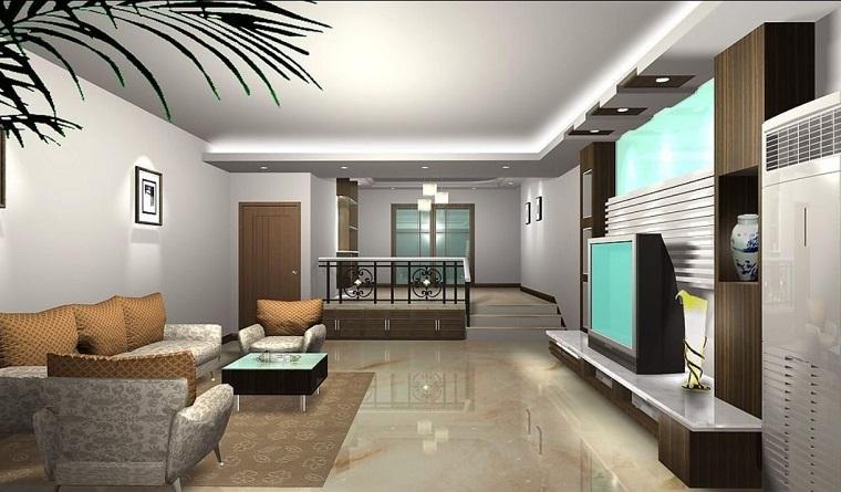 parete grigia-salotto-ampio-moderno
