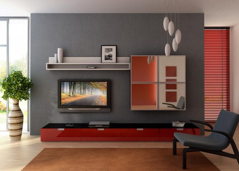 pareti-grigie-living-mobili-rossi