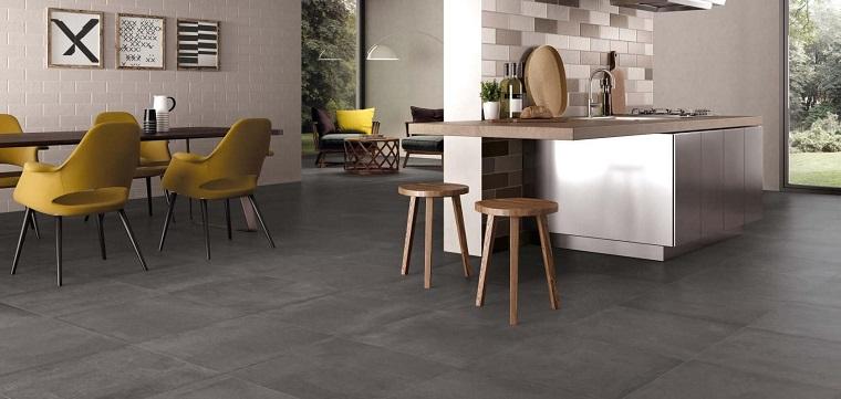 pavimenti cucina-gres-porcellanato-grigio