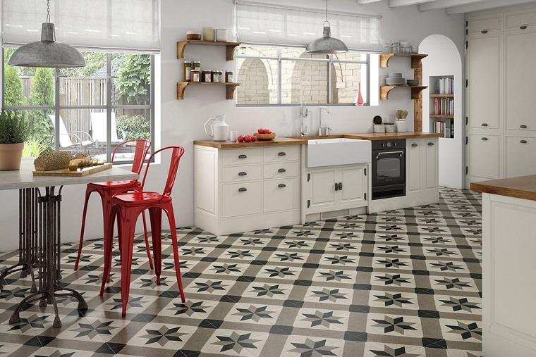 Pavimenti cucina gr s parquet cotto e marmo a voi la for Piastrelle cucina bianche e nere