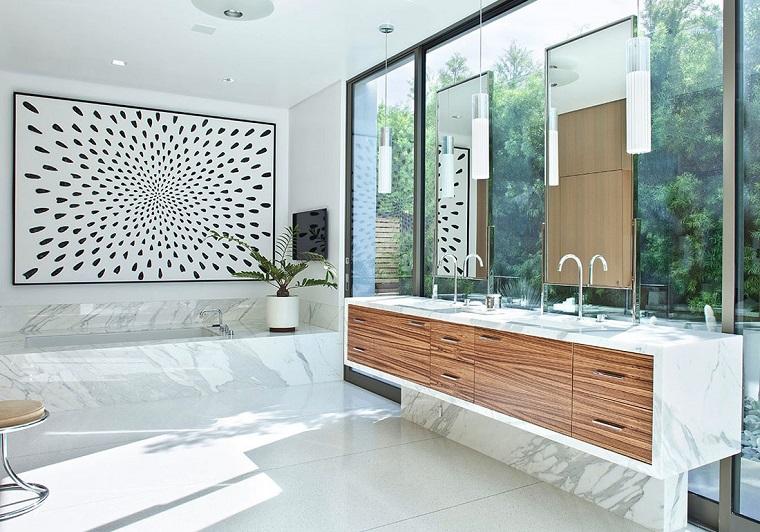 piastrelle bagno moderno-idea-marmo-bianco