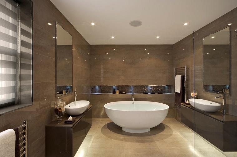 piastrelle bagno moderno-toni-marrone