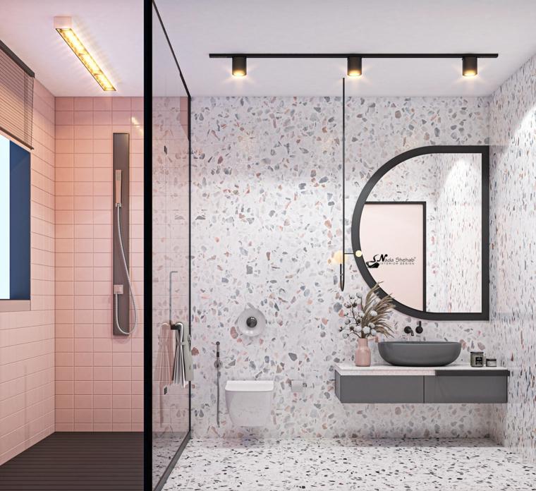 piastrelle box doccia colore rosa specchio lavabo sospeso sala da bagno faretti