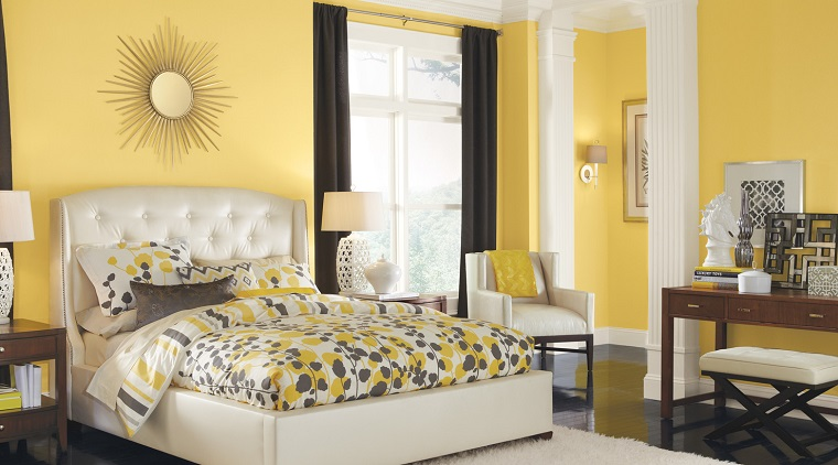 pittura-pareti camera da letto-giallo-chiaro