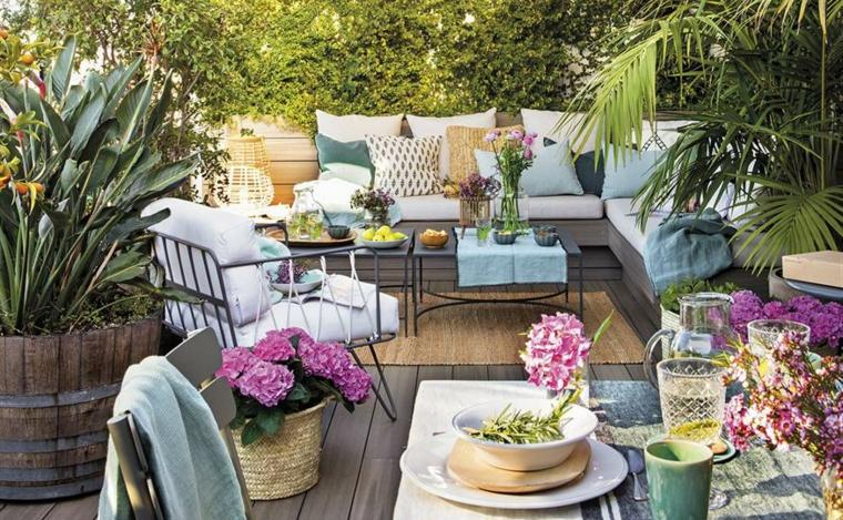 progetto giardino rettangolare arredo mobili da esterno in rattan di colore grigio