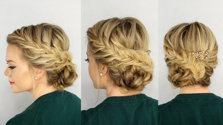 Acconciature capelli lunghi raccolti treccia