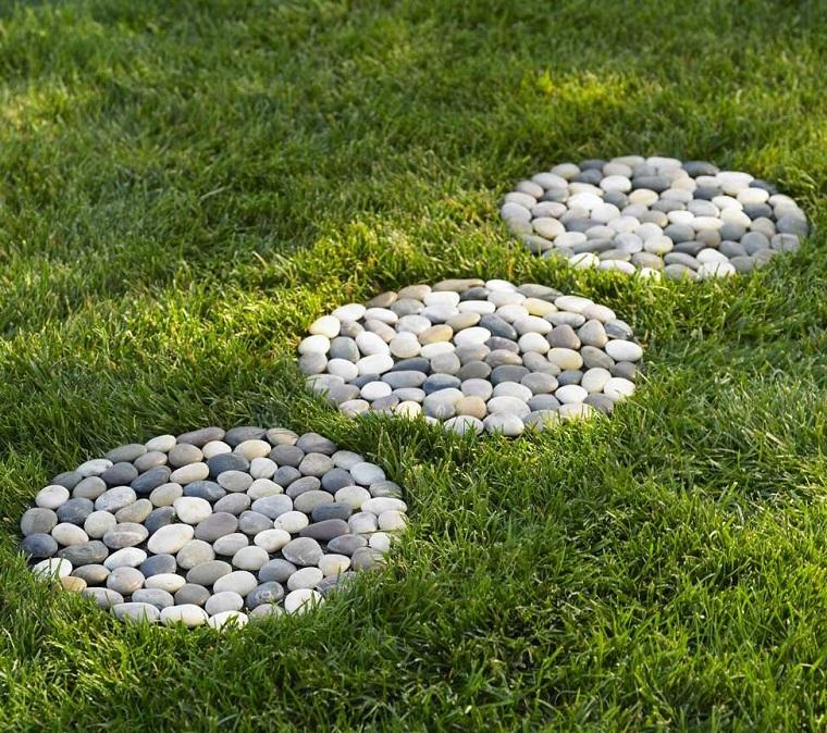 giardini con sassi-decorazioni-rotonde