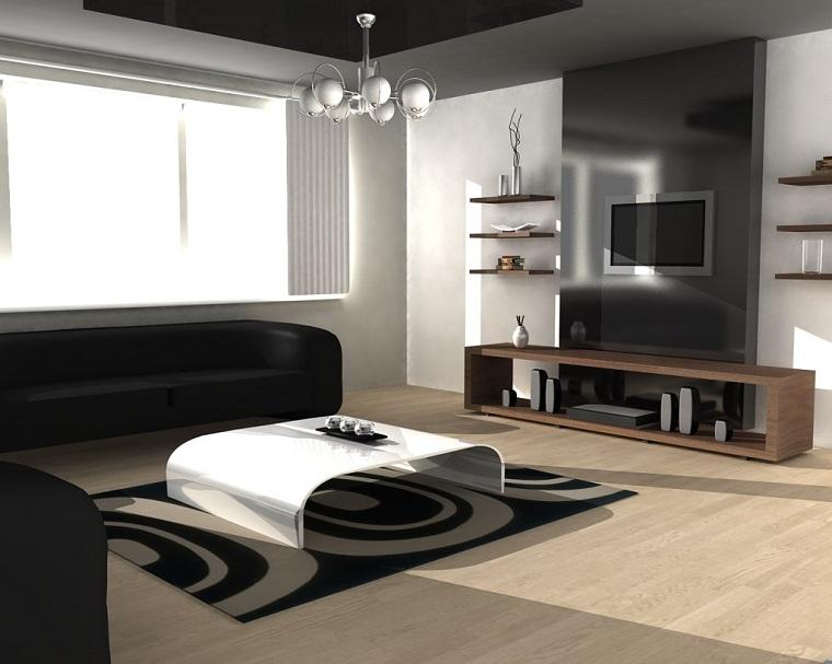 idee arredo casa-stile-contemporaneo-salotto-tavolino-lampadario-design