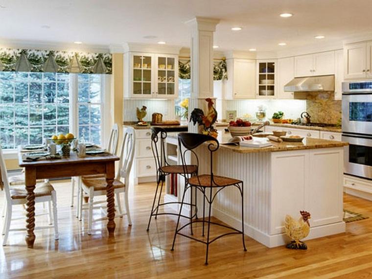 idee arredo casa-stile-country-cucina-mobili-bianchi-parquet