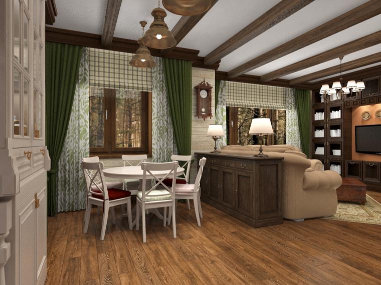 idee arredo casa-stile-country-soggiorno-open-space