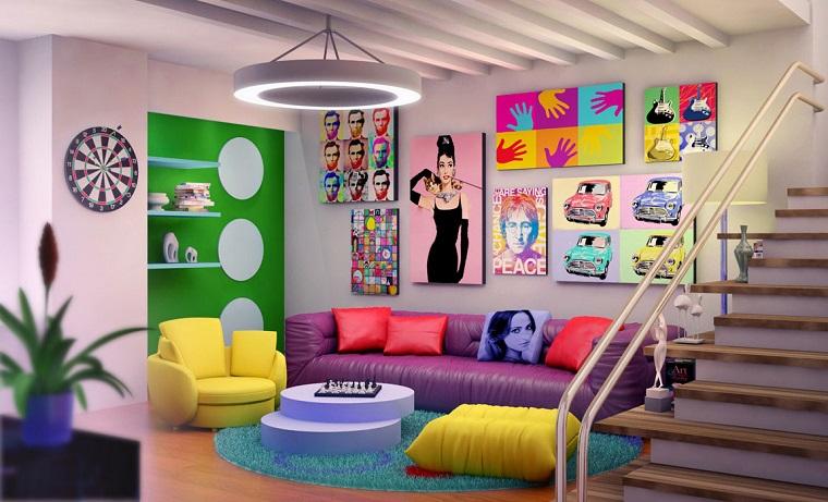 mobili anni 60-salotto-pop-art