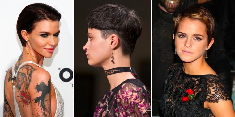 Acconciature capelli corti, tre donne con capelli corti, donna con tatuaggi