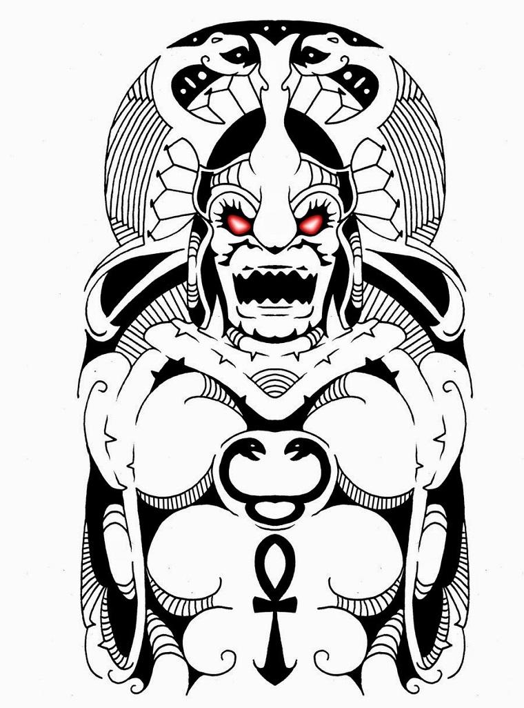 tattoo maori-idea-volto-occhi-colorati