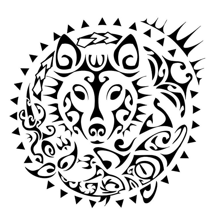 tatuaggio-maori-cerchio-interno-lupo