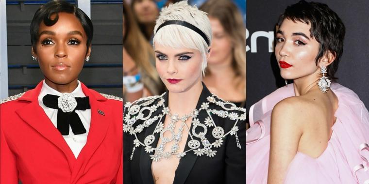 Tre donne famose, acconciature per capelli corti, tagli maschili per donne