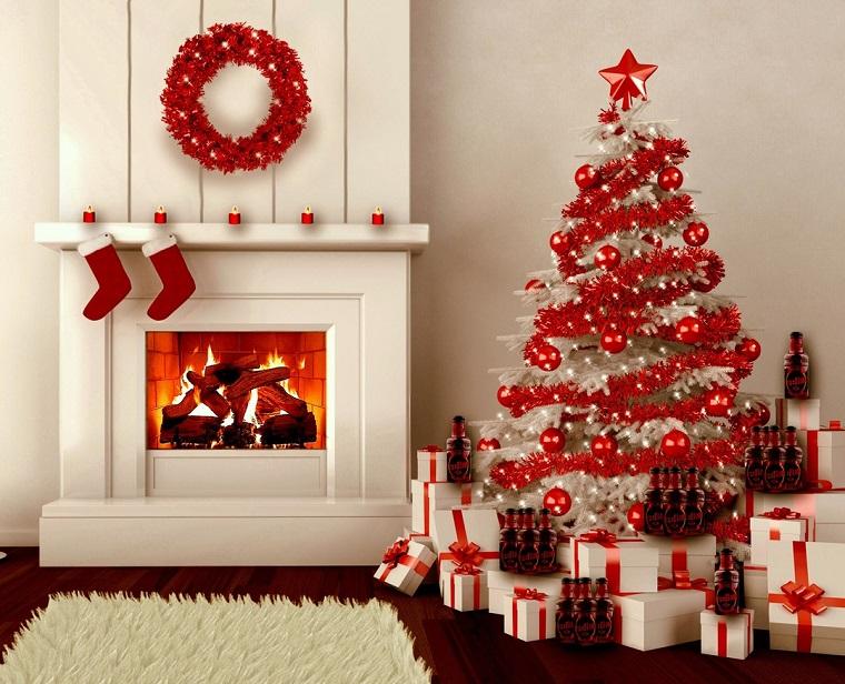 alberi di natale particolari-decorazioni-rosse
